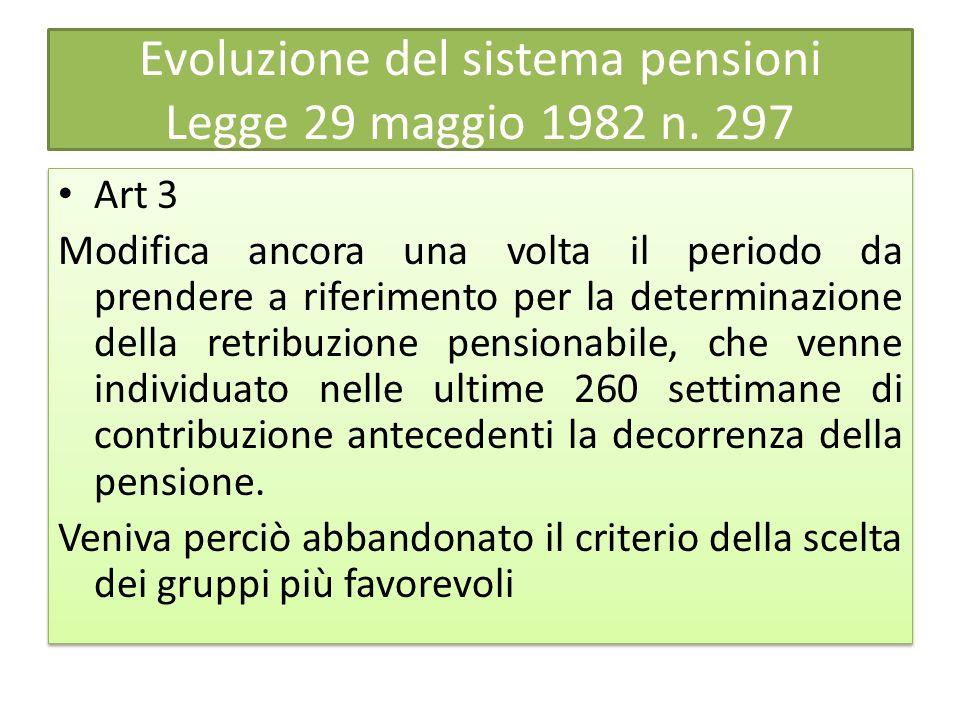 Evoluzione del sistema pensioni Legge 29 maggio 1982 n. 297