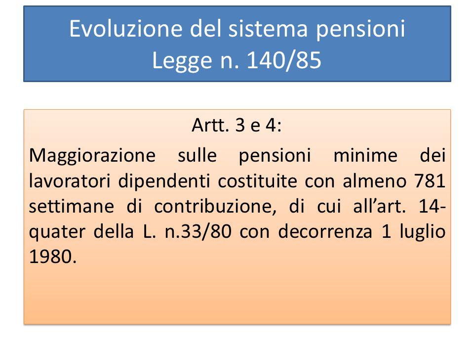 Evoluzione del sistema pensioni Legge n. 140/85