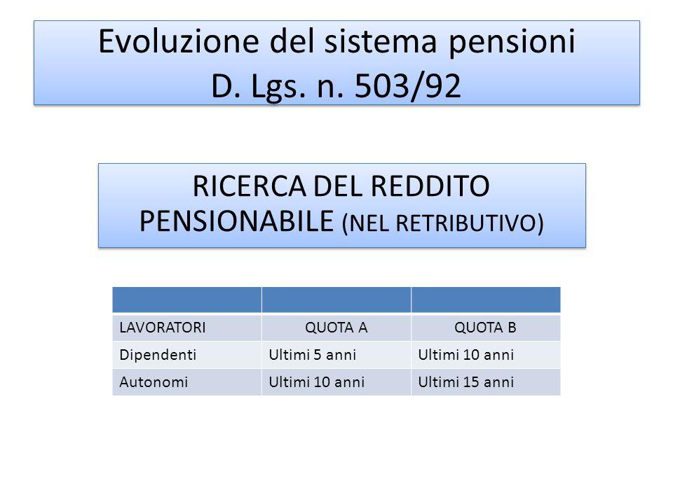 Evoluzione del sistema pensioni D. Lgs. n. 503/92