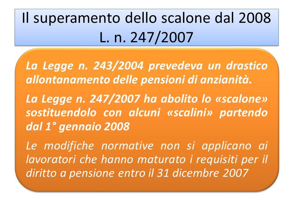 Il superamento dello scalone dal 2008 L. n. 247/2007