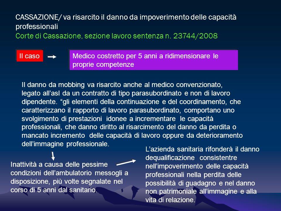 CASSAZIONE/ va risarcito il danno da impoverimento delle capacità professionali Corte di Cassazione, sezione lavoro sentenza n. 23744/2008