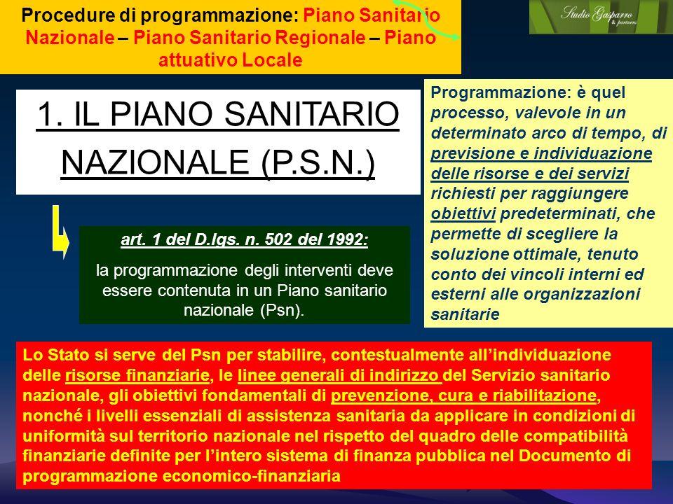 1. IL PIANO SANITARIO NAZIONALE (P.S.N.)