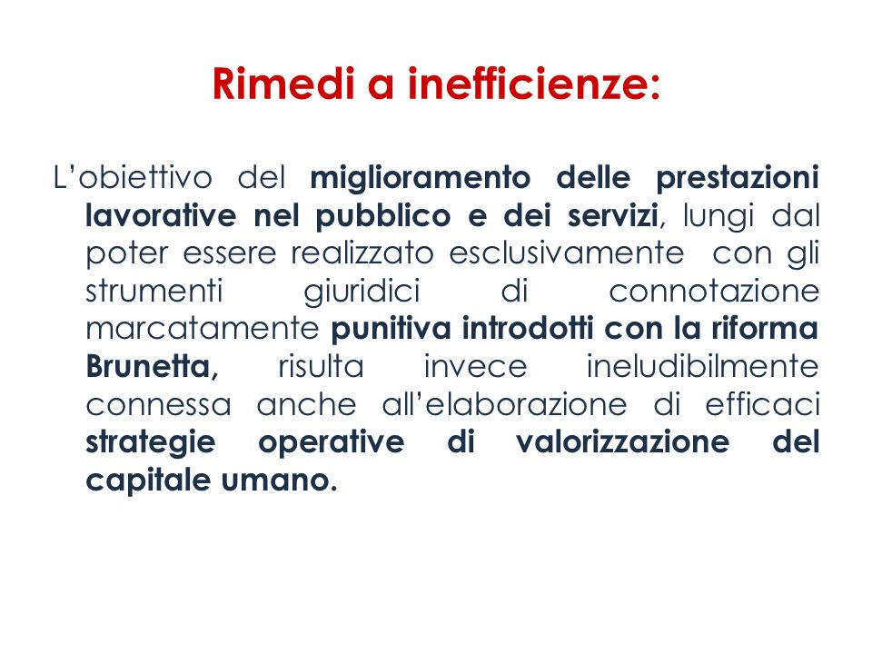 Rimedi a inefficienze: