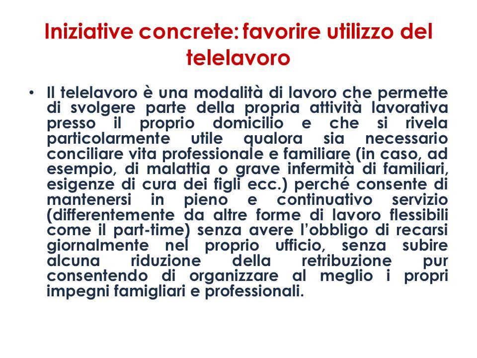 Iniziative concrete: favorire utilizzo del telelavoro