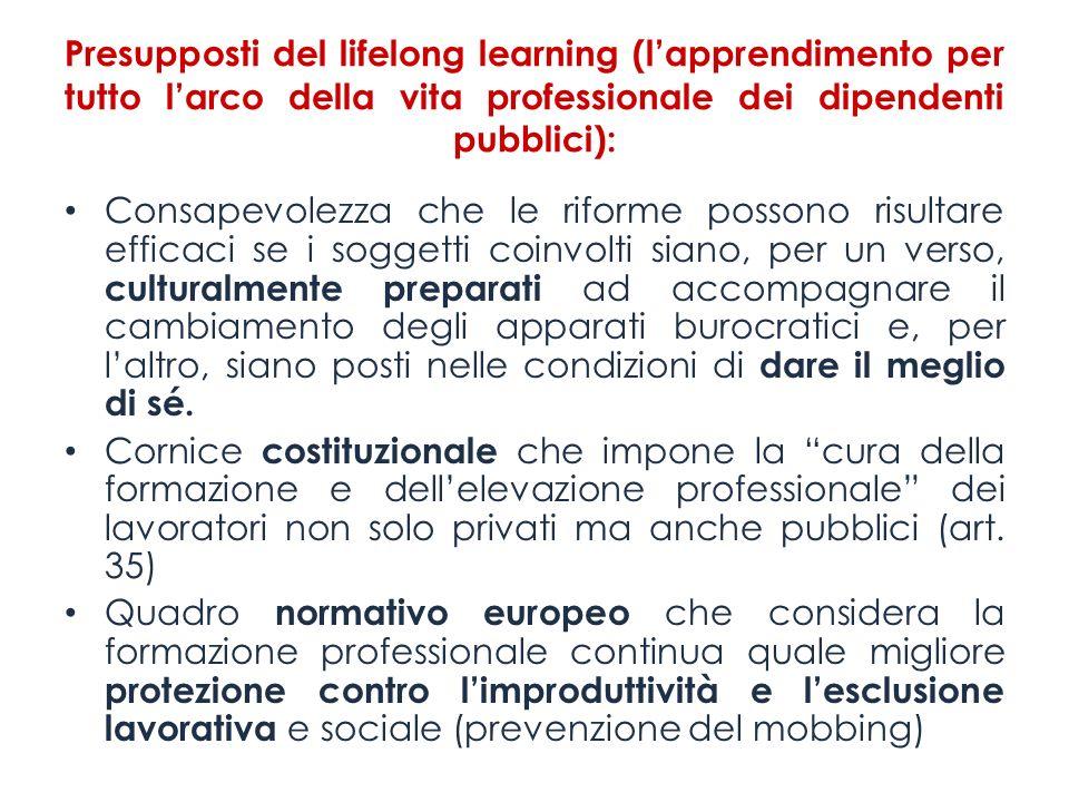 Presupposti del lifelong learning (l'apprendimento per tutto l'arco della vita professionale dei dipendenti pubblici):