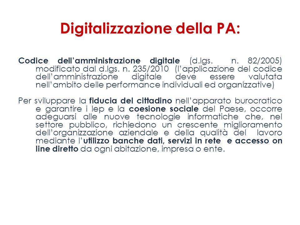 Digitalizzazione della PA: