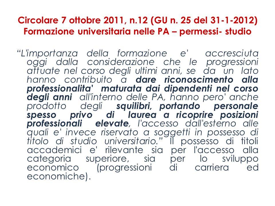Circolare 7 ottobre 2011, n. 12 (GU n