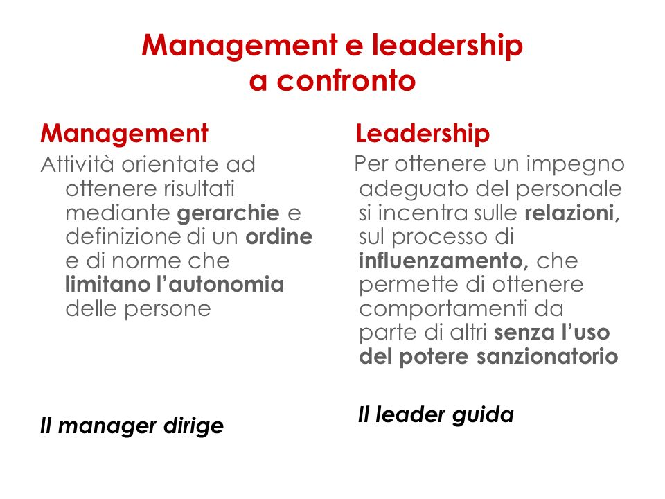 Management e leadership a confronto