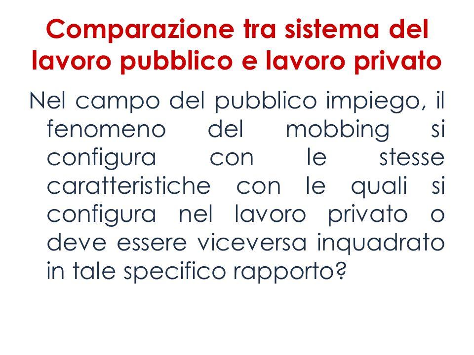 Comparazione tra sistema del lavoro pubblico e lavoro privato
