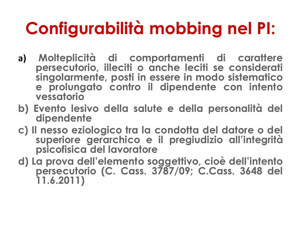 Configurabilità mobbing nel PI: