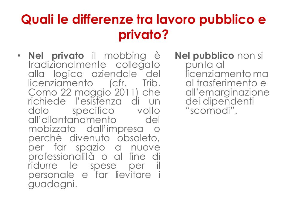 Quali le differenze tra lavoro pubblico e privato