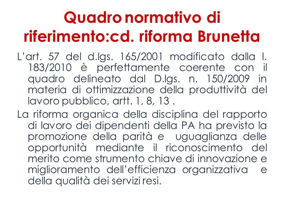 Quadro normativo di riferimento:cd. riforma Brunetta