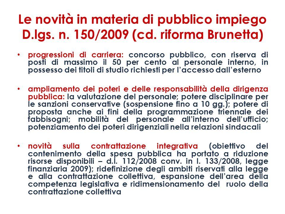 Le novità in materia di pubblico impiego D. lgs. n. 150/2009 (cd
