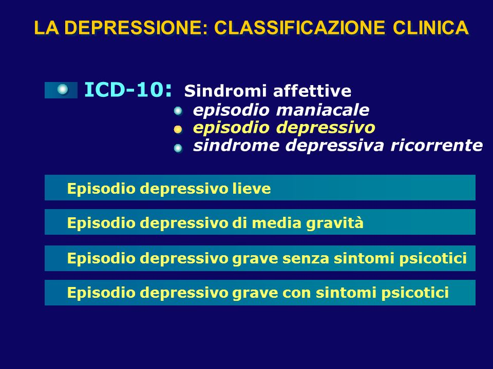 DEPRESSIONE: POSSIBILI SISTEMI CLASSIFICATORI