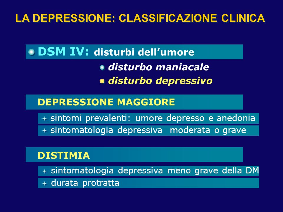 DISTURBI DELL'UMORE (DSM IV)