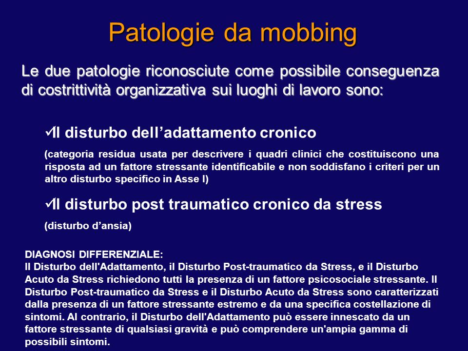 Patologie da mobbing DSM IV Disturbi Correlati a Sostanze