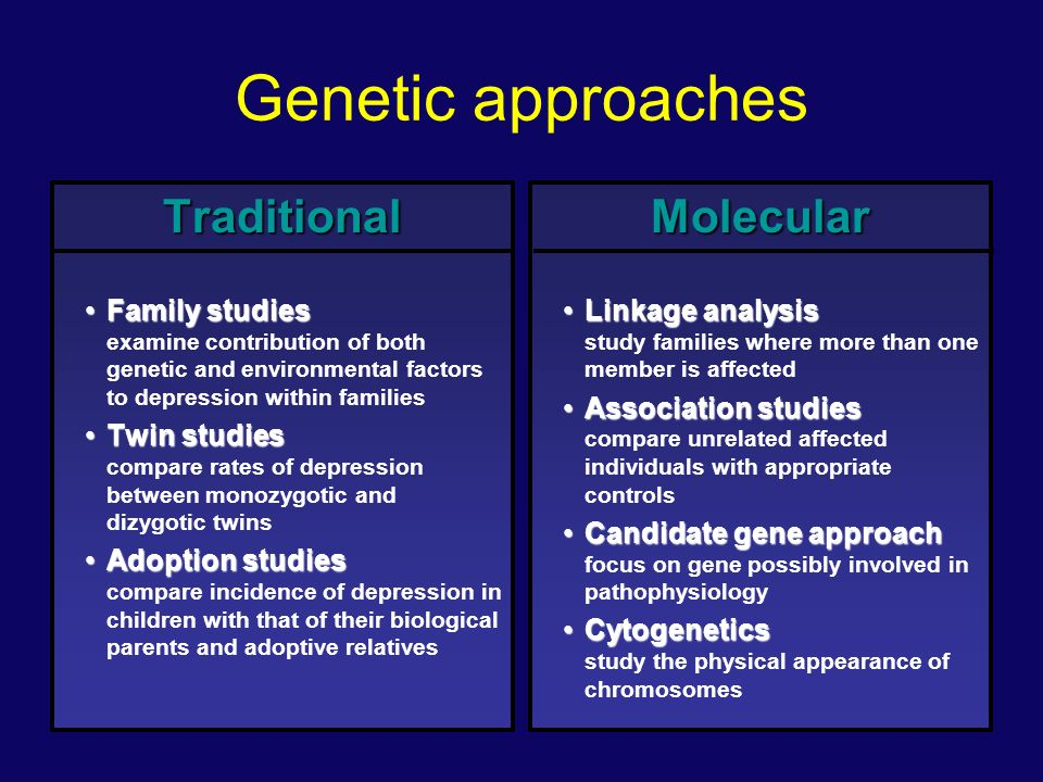 Genetic evidence Family Studies Adoption Studies Twin Studies