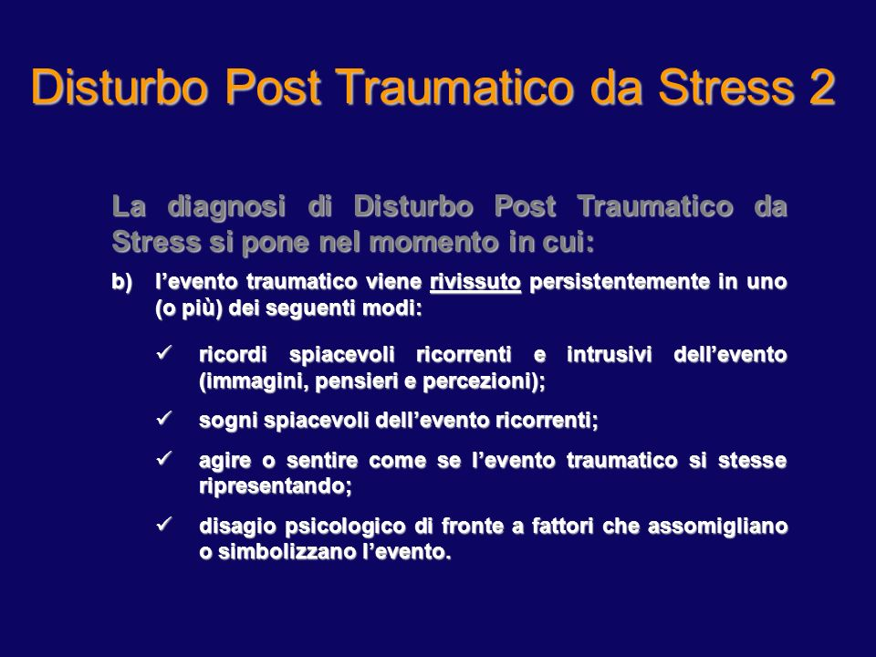 Disturbo Post Traumatico da Stress 1
