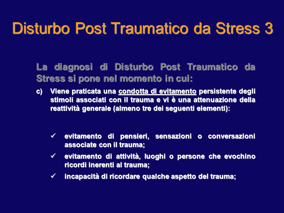 Disturbo Post Traumatico da Stress 2
