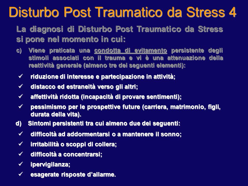 Disturbo Post Traumatico da Stress 3
