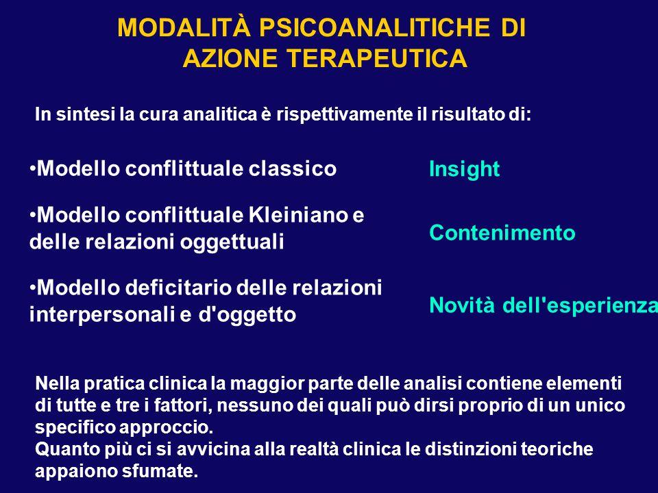 MODALITÀ PSICOANALITICHE DI AZIONE TERAPEUTICA