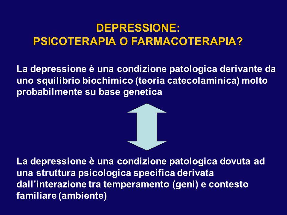 DEPRESSIONE: PSICOTERAPIA O FARMACOTERAPIA