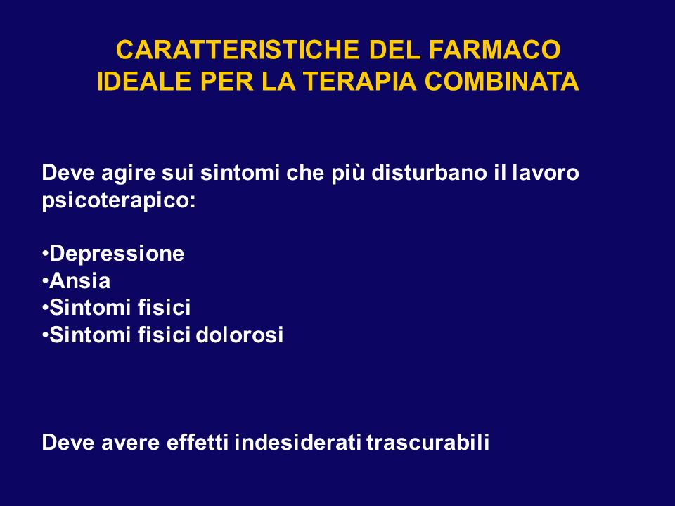 TERAPIA COMBINATA: QUALE FARMACO