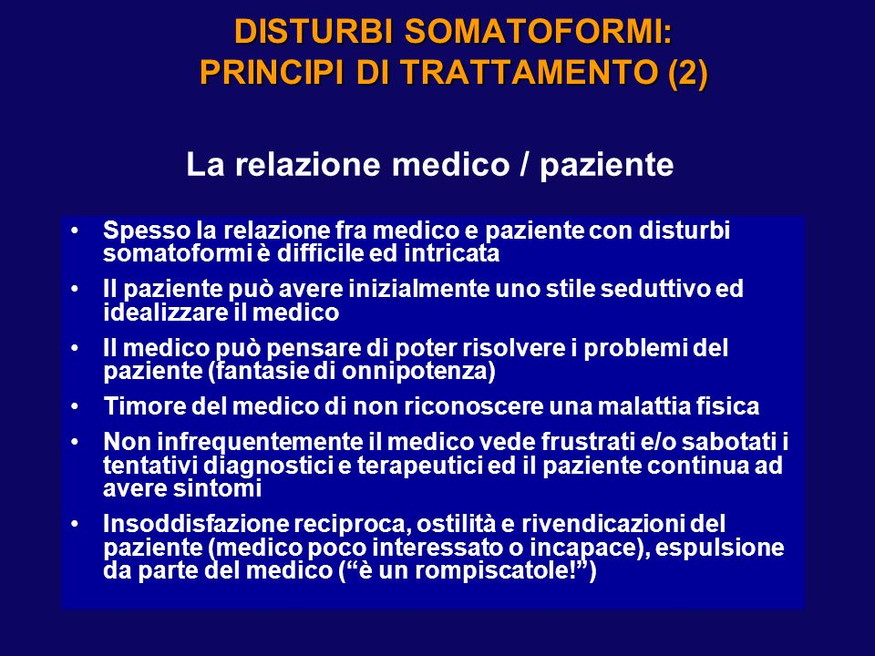 DISTURBI SOMATOFORMI: PRINCIPI DI TRATTAMENTO (1)