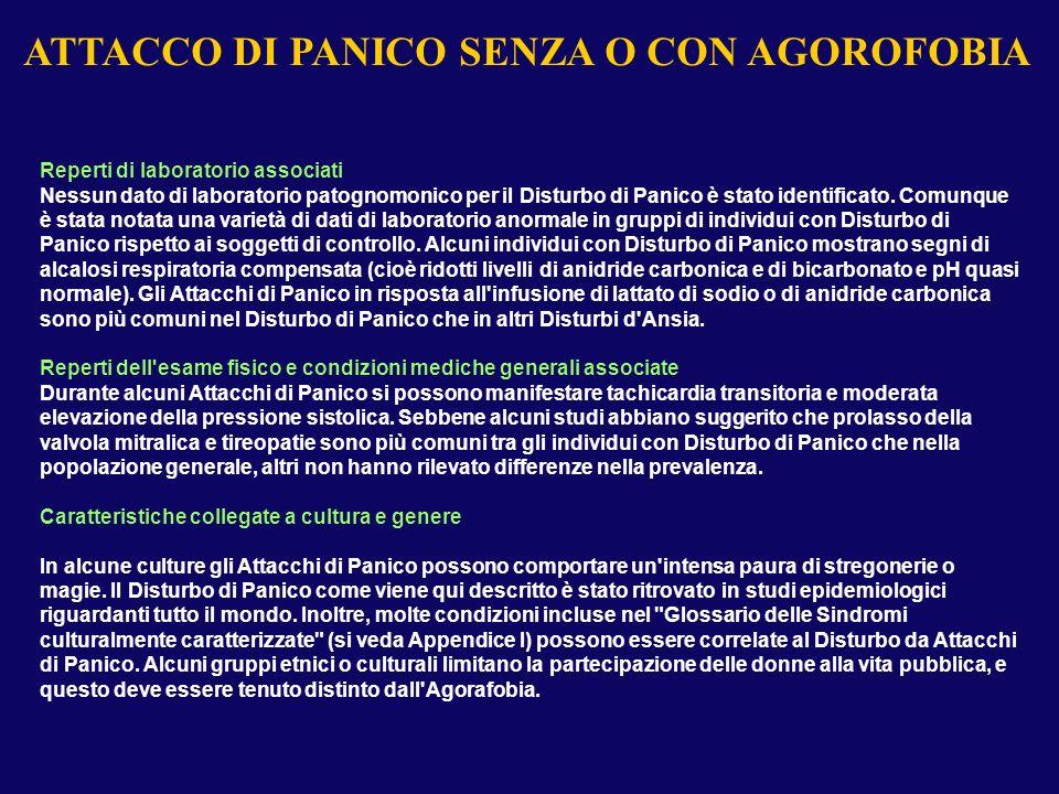 ATTACCO DI PANICO SENZA AGOROFOBIA