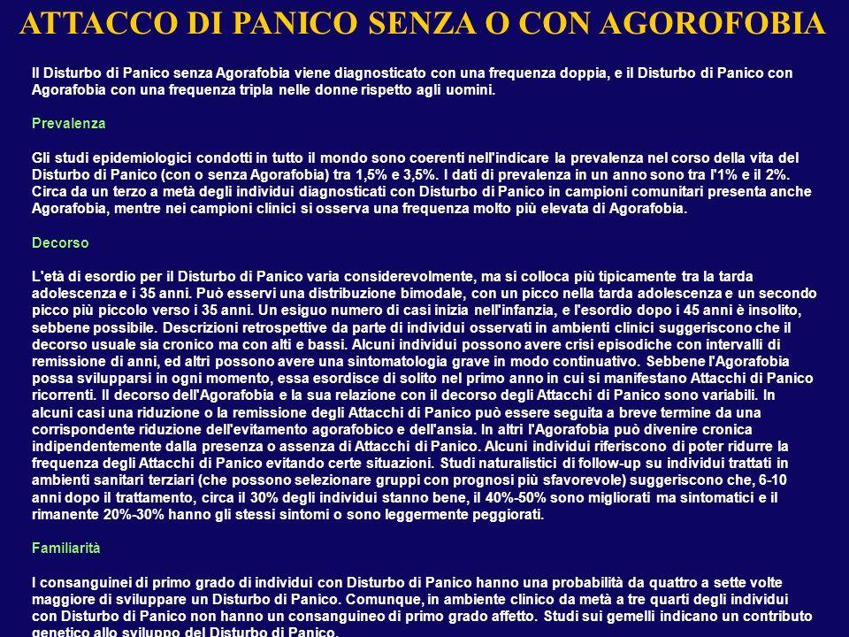 ATTACCO DI PANICO SENZA O CON AGOROFOBIA