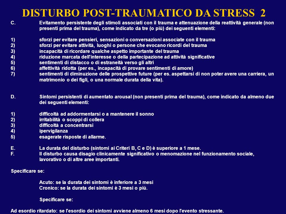 DISTURBO POST-TRAUMATICO DA STRESS 1