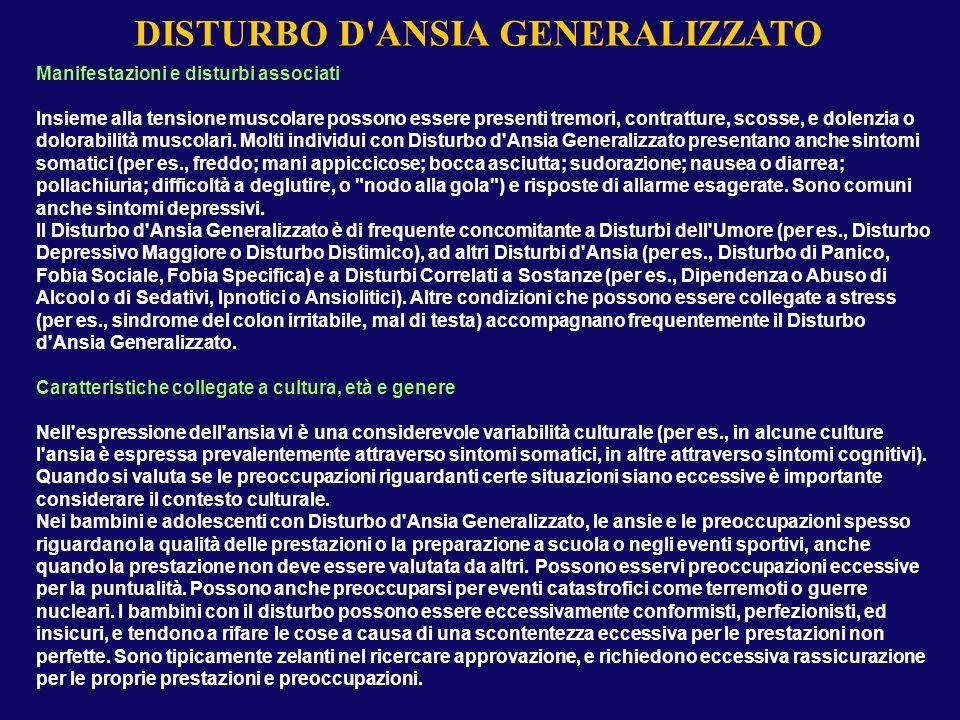 DISTURBO D ANSIA GENERALIZZATO