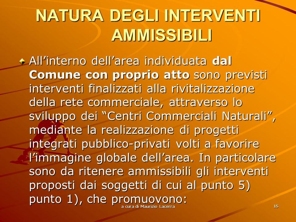 NATURA DEGLI INTERVENTI AMMISSIBILI
