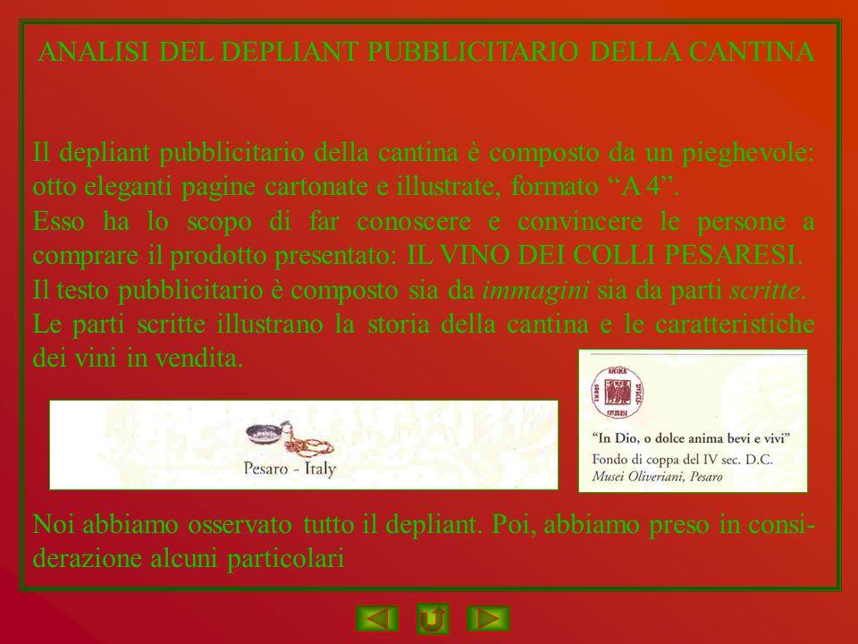 ANALISI DEL DEPLIANT PUBBLICITARIO DELLA CANTINA