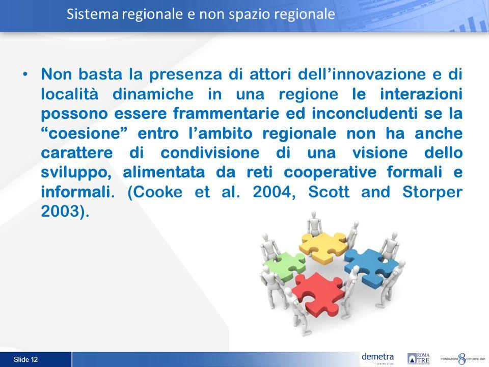Sistema regionale e non spazio regionale