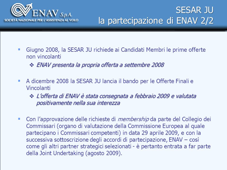 SESAR JU la partecipazione di ENAV 2/2