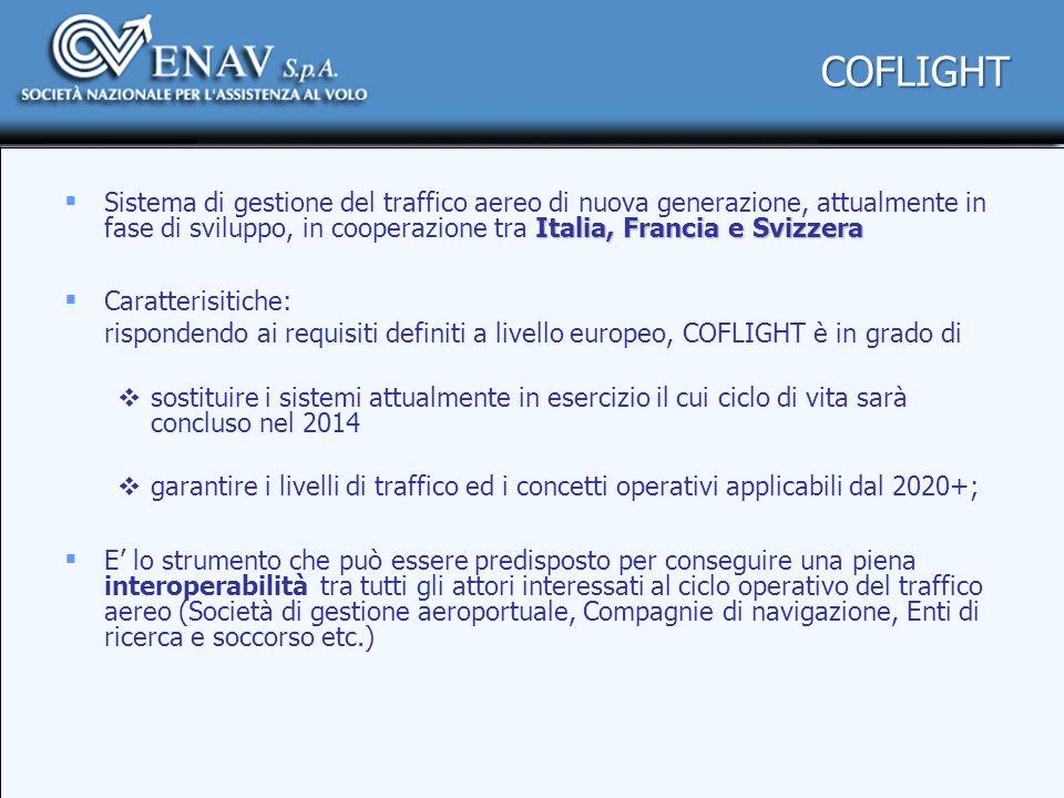 COFLIGHT Sistema di gestione del traffico aereo di nuova generazione, attualmente in fase di sviluppo, in cooperazione tra Italia, Francia e Svizzera.