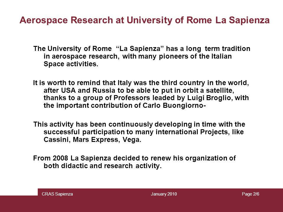 Aerospace Research at University of Rome La Sapienza