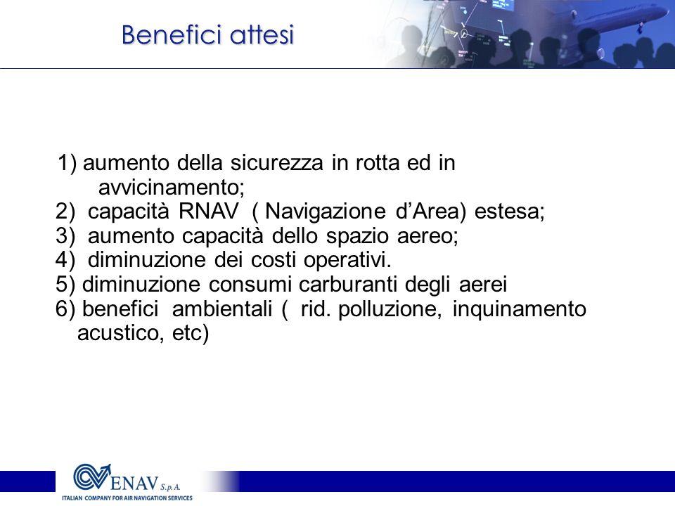 Benefici attesi 1) aumento della sicurezza in rotta ed in avvicinamento; 2) capacità RNAV ( Navigazione d'Area) estesa;