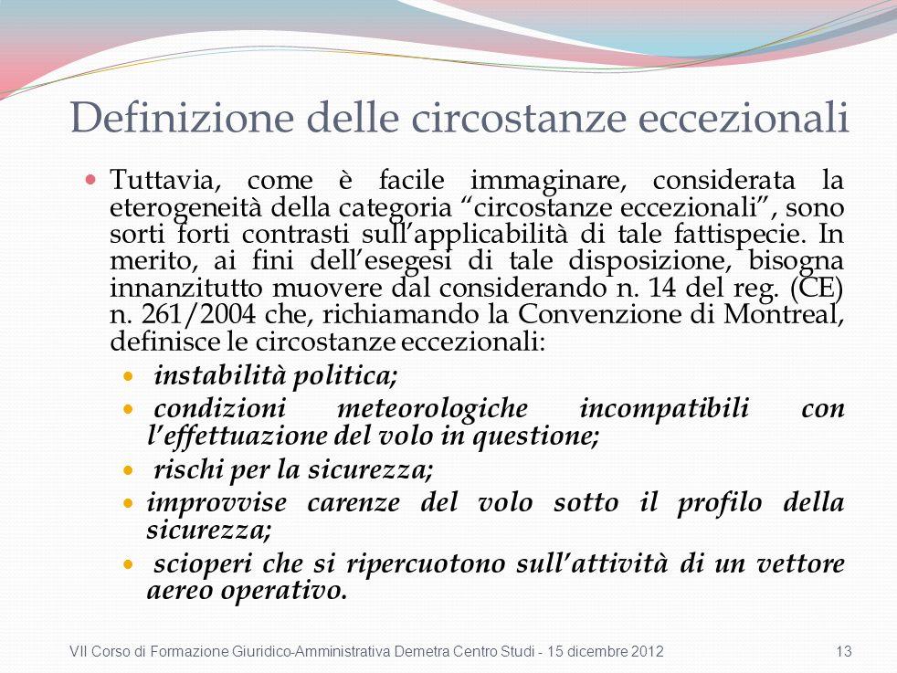 Circostanze eccezionali e presunzione di responsabilità del vettore