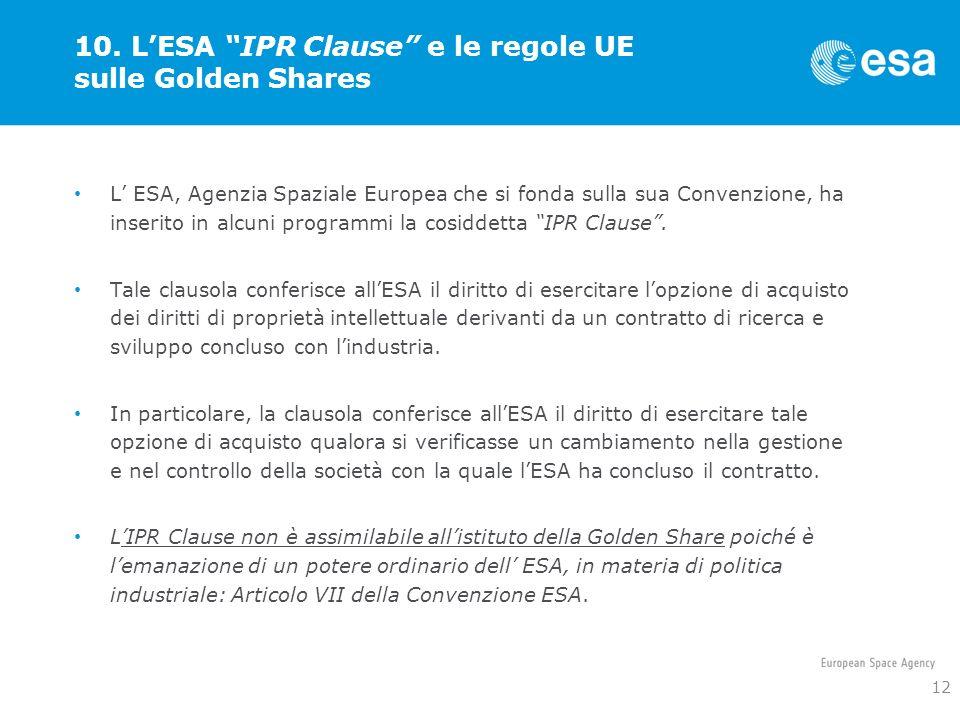 10. L'ESA IPR Clause e le regole UE sulle Golden Shares