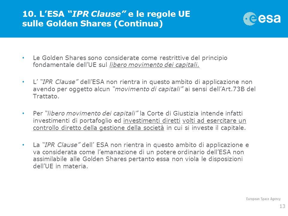 10. L'ESA IPR Clause e le regole UE sulle Golden Shares (Continua)