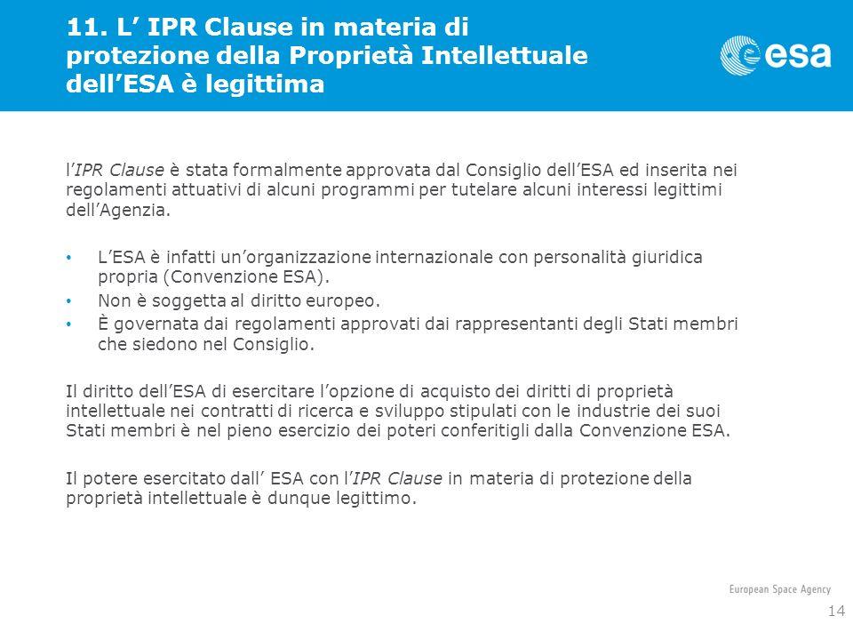 11. L' IPR Clause in materia di protezione della Proprietà Intellettuale dell'ESA è legittima
