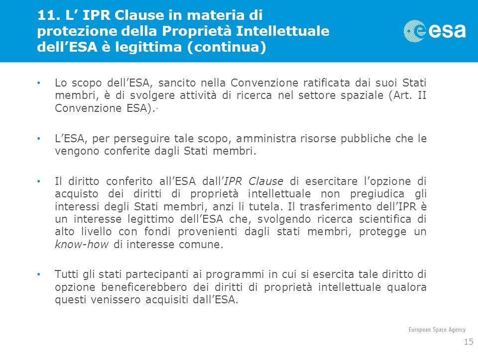 11. L' IPR Clause in materia di protezione della Proprietà Intellettuale dell'ESA è legittima (continua)