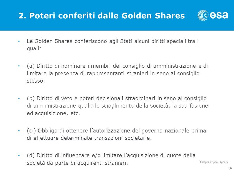 2. Poteri conferiti dalle Golden Shares
