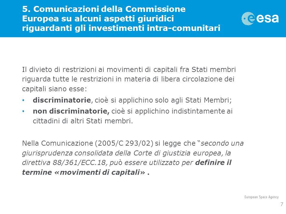 5. Comunicazioni della Commissione Europea su alcuni aspetti giuridici riguardanti gli investimenti intra-comunitari