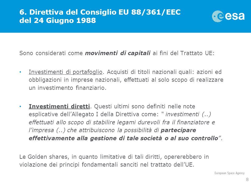 6. Direttiva del Consiglio EU 88/361/EEC del 24 Giugno 1988
