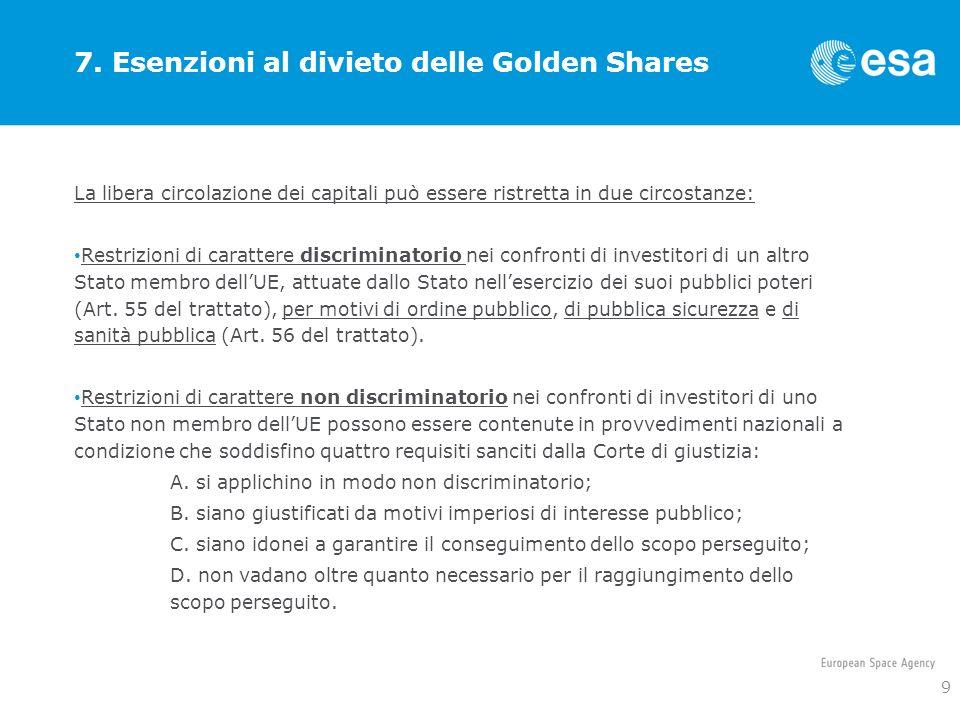 7. Esenzioni al divieto delle Golden Shares