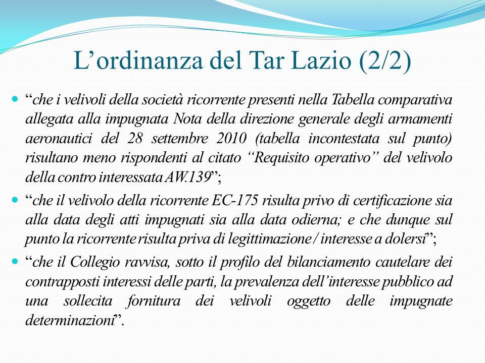 L'ordinanza del Tar Lazio (2/2)