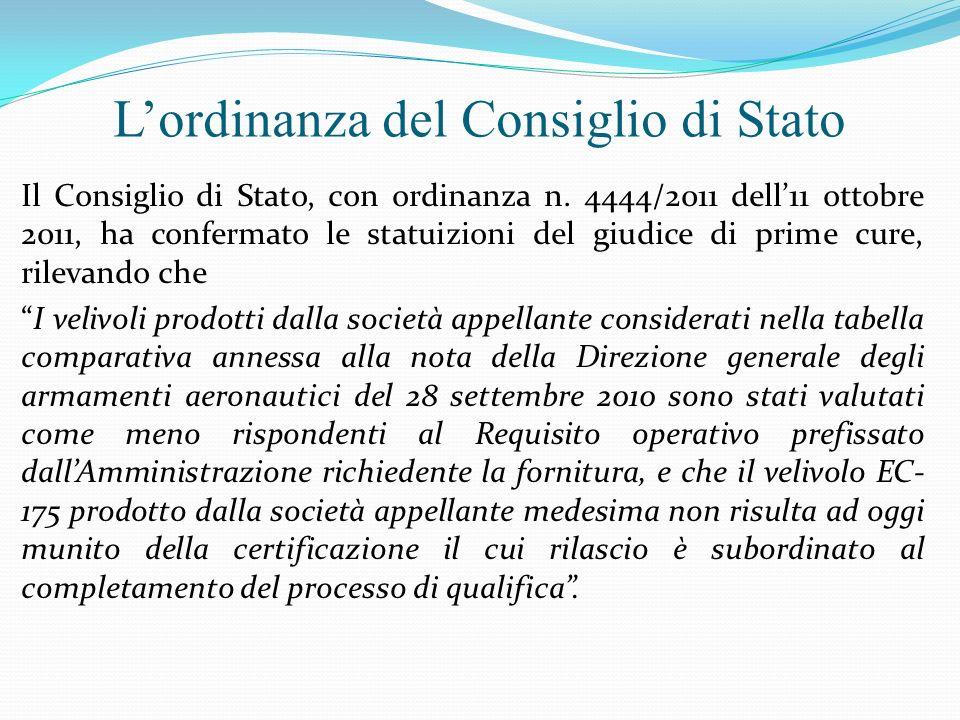 L'ordinanza del Consiglio di Stato